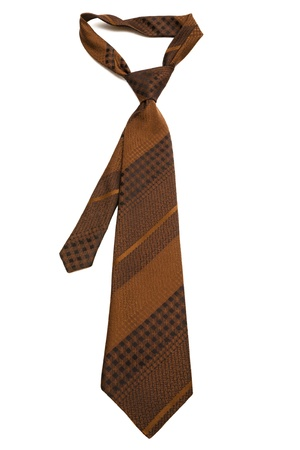 elastic garments: brown striped tie on a white background