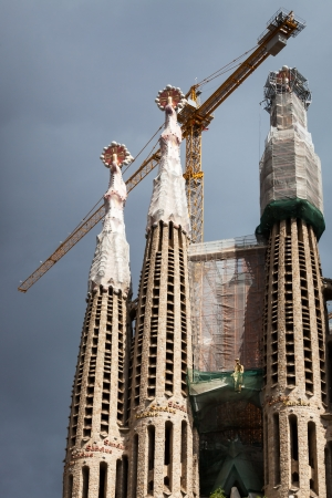 construction of the cathedral in barcelona photo