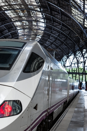 highspeed: high-speed train at the railway station