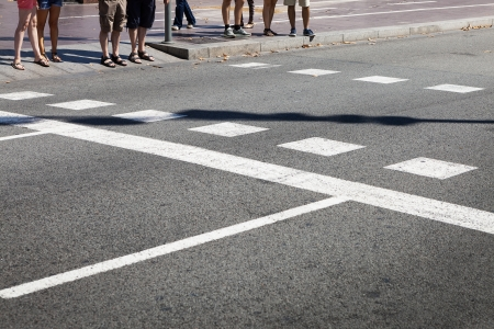 people at the crossroads on a sunny day Stock Photo - 23718265