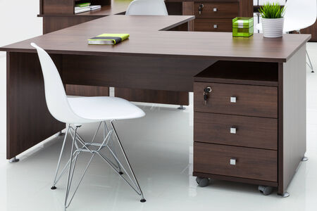 office furniture: tables and chairs with reflection on white background Stock Photo