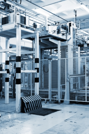 factory floor: equipment for packing goods in a modern plant
