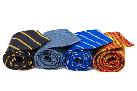 polyester: bright and fashionable ties on a white background