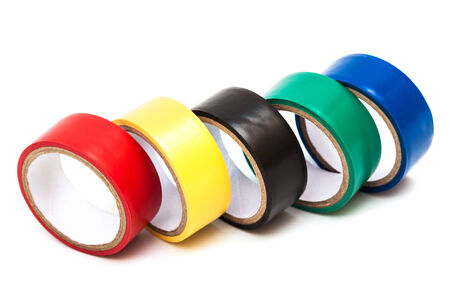 color insulating tape on white background photo