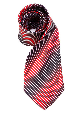 neckcloth: red and blue necktie on a white background
