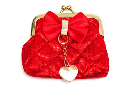 red silk purse on a white background photo