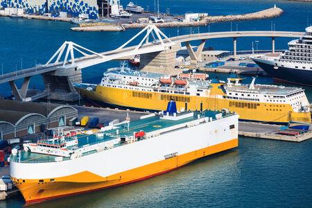 tanker ship: beautiful sea ships in port today Stock Photo