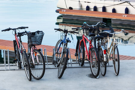 rack wheel: a bike parking at the seaport