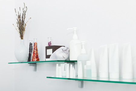 shelf with creams in the beauty salon