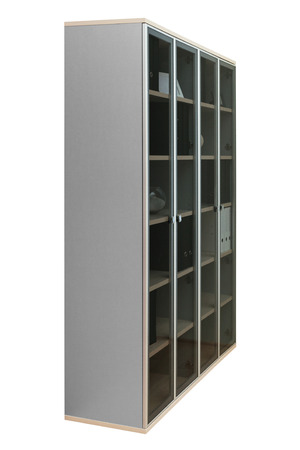 bookcase with glass doors on a white background photo