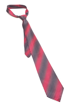 striped tie with knot on white background photo