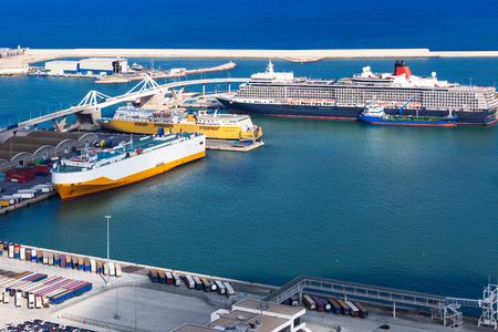 passenger ships and ferries in the seaport photo