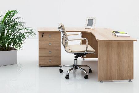 mobiliario de oficina: escritorio de madera y palma en una pared blanca Foto de archivo