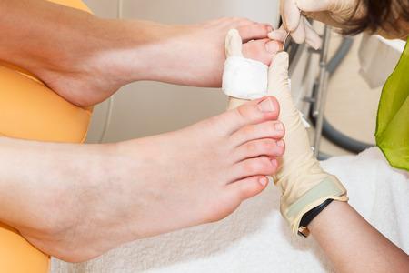 chiropody: pedicure foot in a modern beauty salon Stock Photo