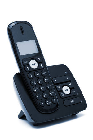 Modern new phone on a white background photo