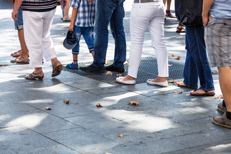 line on the sidewalk in the city