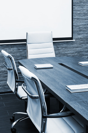 center table: conference table with the screen in the office Stock Photo