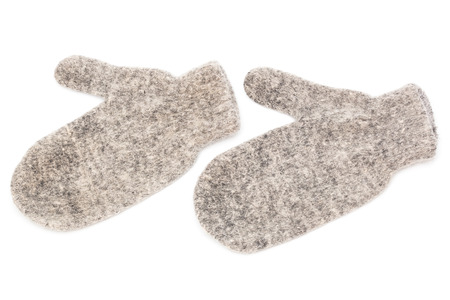 warm mittens made of wool on a white background photo