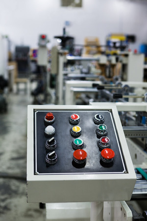 jobbing: Control panel of the equipment in a modern printing house Stock Photo
