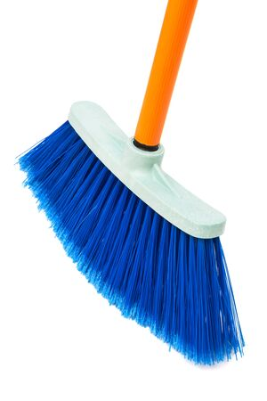 broom handle: blue brush the floor on a white background