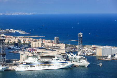 white passenger ships in the seaport photo