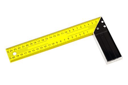 square ruler: modern building setsquare on a white background
