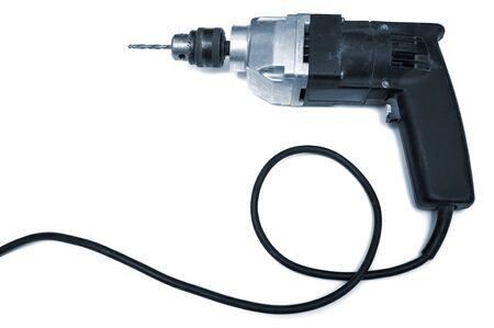 electric drill: old electric drill on a white background