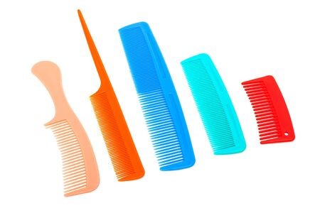 plastic comb: set of plastic comb on a white background