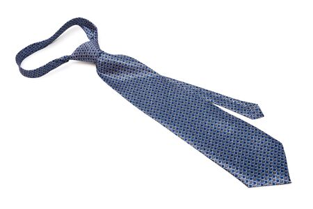 neckwear: blue tie with knot on a white background Stock Photo