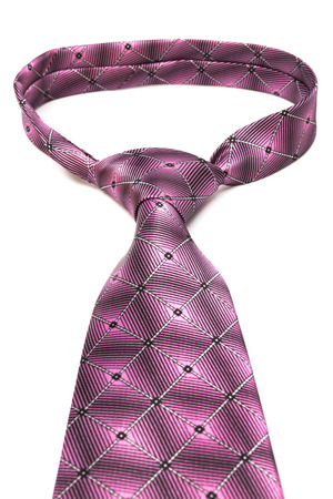 elastic garments: beautiful knot pink tie on white background