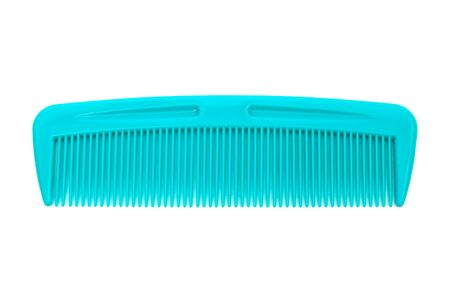 plastic comb: new blue plastic comb on a white background