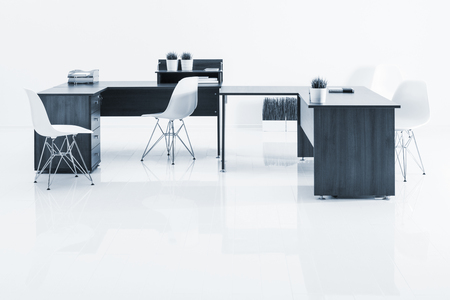 office furniture: tables and armchairs with reflection on white background