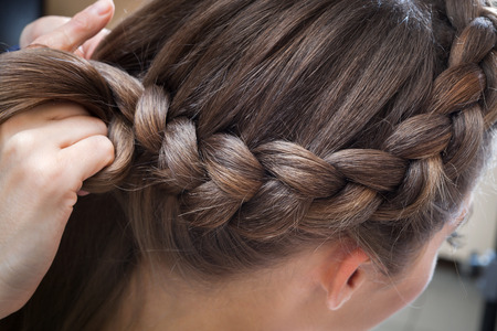 braided hair: braided plait brunette at the beauty salon