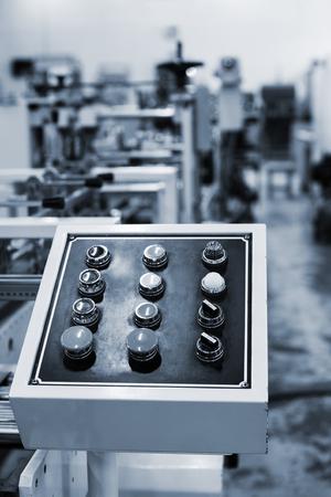 control panel: Panel de control del equipo en una imprenta moderna Foto de archivo