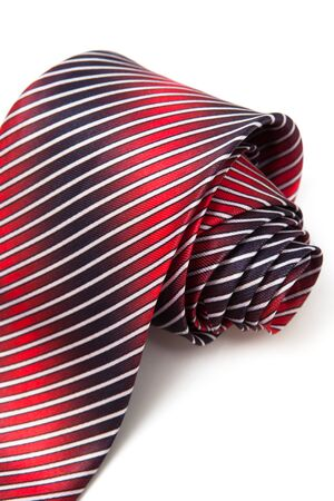 elastic garments: red and blue tie on a white background Stock Photo