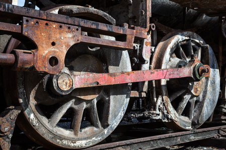 steam locomotive: old steam locomotive wheels close up Stock Photo