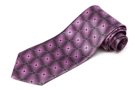 polyester: folded purple tie on a white background
