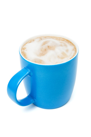 blue cup with a cappuccino on a white background