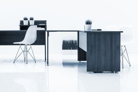 clean office: tables and armchairs with reflection on white background