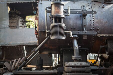 steam locomotive: fragment of an old steam locomotive Stock Photo