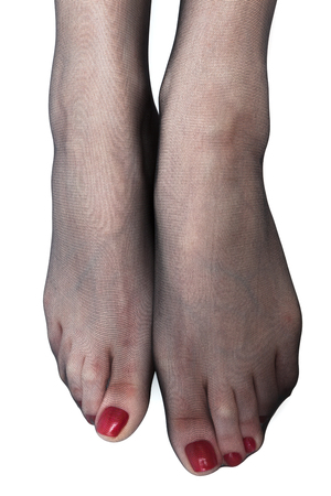stockings feet: womens feet in stockings on a white background