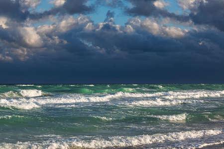 ocean waves: a ocean waves and stormy sky