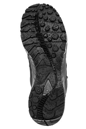 sole: sole hiking boots on a white background Stock Photo