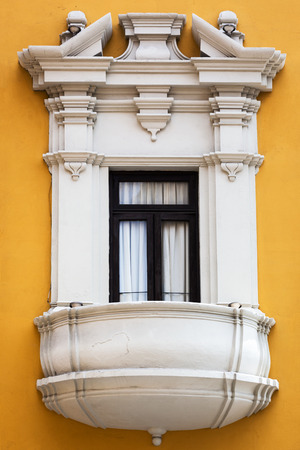 balcony window: beautiful balcony window and yellow wall Stock Photo