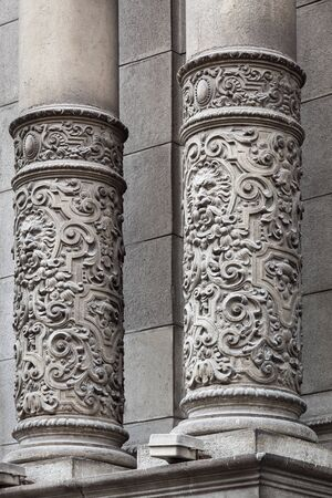 carved: carved columns beautiful old building
