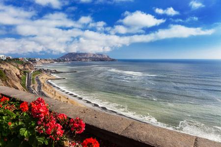 coastal: coastline and coastal road in Lima