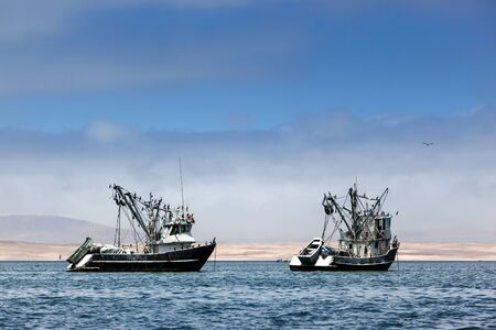 fishing industry: fishing boats in the bay of the Pacific Ocean