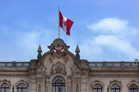 plaza of arms: flag on the roof of the Presidential Palace Editorial