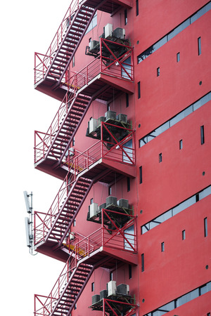 fire escape: fire escape on a red building Stock Photo