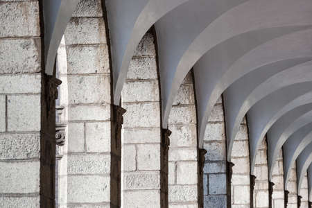 colonnade: old colonnade with arched ceiling